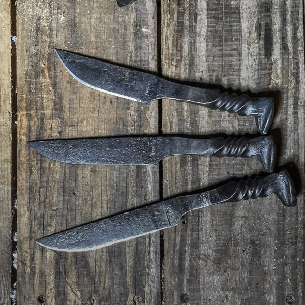 Primitive railroad spike knives - Twist handles