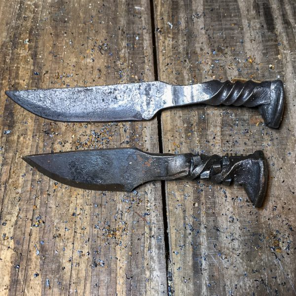 Primitive railroad spike knives - Rubick and Regular Twist handle