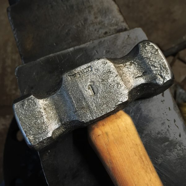 Purgatory Ironworks 2 lb. Double Flat Hammer for blacksmiths (cheek view)