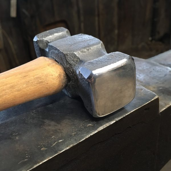 Purgatory Ironworks 2 lb. Double Flat Hammer for blacksmiths (face view)
